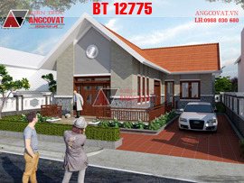 Mẫu nhà 1 tầng hình chữ L mái ngói diện tích 130m2  ở nông thôn đẹp BT12775