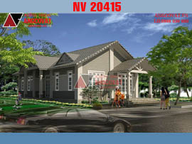 Thiết kế nhà 1 tầng 120m2 với 3 phòng ngủ mặt tiền 6x20m NV20415