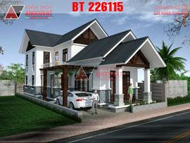 Thiết kế nhà 1 tầng có gác lửng 100m2 mặt tiền 7m BT226115