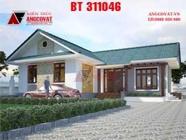 Thiết kế nhà cấp 4 diện tích 100m2 3 phòng ngủ hình chữ L kinh phí 600 triệu BT311046