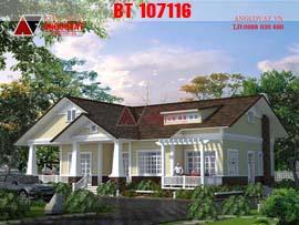 Biệt thự 1 tầng phong cách châu âu 200m2 trẻ trung lãng mạn BT107116