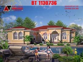 Hình ảnh phối cảnh biệt thự nhà vườn 1 tầng diện tích 260m2 mặt tiền 20x18m theo phong cách châu âu BT1130736
