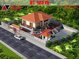 Thiết kế nhà 1 tầng 3 phòng ngủ mái thái diện tích 120m2 ở nông thôn BT12375