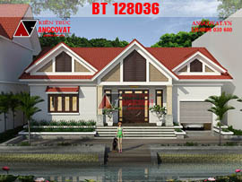 Thiết kế biệt thự nhà vườn cấp 4 200m2 theo kiểu đối xứng BT128036