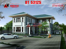 Kiến trúc nhà đẹp 100m2 2 tầng hình chữ L phong cách tân cổ điển đẹp BT53125