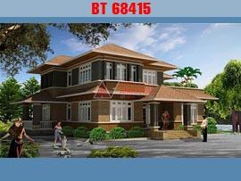 Nhà biệt thự 2 tầng 5 phòng ngủ theo phong cách mái thái kích thước 20x15m đẹp BT68415