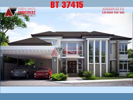 Thiết kế biệt thự 2 tầng hình chữ L 16x22m kiểu hiện đại BT37415