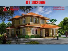 Mẫu thiết kế biệt thự 150m2 2 tầng 5 phòng ngủ BT302066