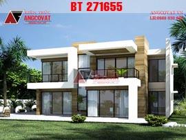 Thiết kế biệt thự 2 tầng mái bằng kiểu hiện đại 12x8m diện tích 100m2 BT271655