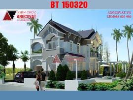 Mẫu biệt thự 2 tầng 2 mặt tiền mái thái 10x18m BT150320