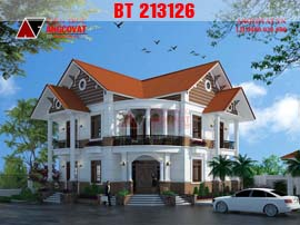 Biệt thự 2 tầng tân cổ điển mái ngói đẹp BT213126