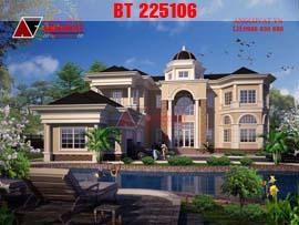 Thiết kế biệt thự lâu đài phong cách châu âu BT225106