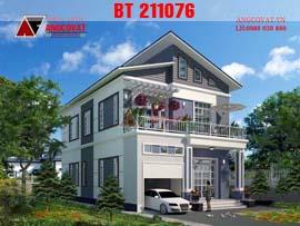 Mẫu thiết kế nhà 2 tầng mái lệch diện tích 100m2 4 phòng ngủ BT211076