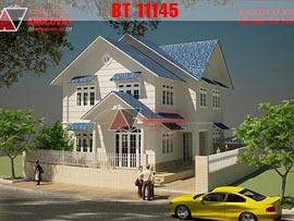 Bản vẽ nhà 2 tầng có 3 phòng ngủ mặt tiền 9m, diện tích 100m2 ở Hà Nội BT11145