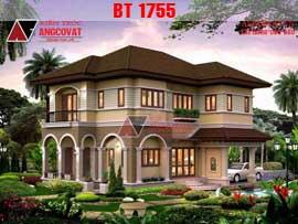 Bản vẽ biệt thự mini 2 tầng 100m2 mang phong cách tân cổ điển BT1755