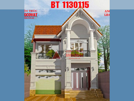 Mẫu thiết kế biệt thự 80m2 2 tầng mặt tiền 7m phong cách tân cổ điển BT130115