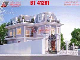 Mẫu thiết kế nhà 2 tầng mặt tiền 10m kiểu cổ điển 150m2 BT41201