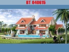 Mẫu thiết kế nhà 2 tầng mái ngói đẹp 20x16m có 5 phòng ngủ BT040615