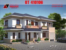 Nhà ngang 7m 2 tầng diện tích 130m2 4 phòng ngủ mang kiểu dáng nông thôn hiện đại BT410106