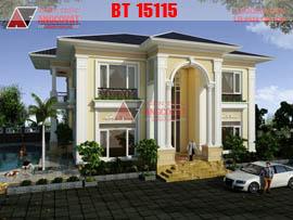 Mẫu thiết kế nhà biệt thự 300m2 theo phong cách châu âu BT15115.