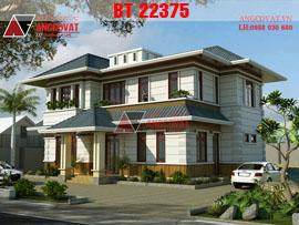 Thiết kế biệt thự sân vườn 2 tầng 4 phòng ngủ mái thái, kích thước 10x16m BT22375