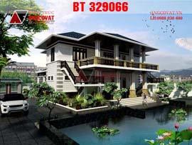 Mẫu thiết kế biệt thự nhà vườn 2 tầng diện tích 200m3 3 phòng ngủ BT329066
