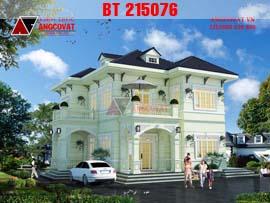 Biệt thự nhà vườn 2 tầng hình vuông phong cách tân cổ điển 12x12m diện tích 120m2 BT215076