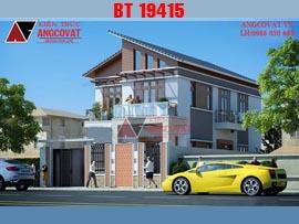 Thiết kế biệt thự 2 tầng mái dốc mặt tiền 10m hiện đại BT19415
