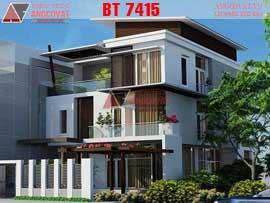 Mẫu thiết kế biệt thự nhà 3 tầng mặt phố hiện đại mặt tiền 10m diện tích 160m2 BT7415