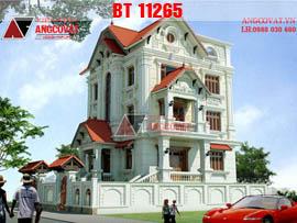 Bản vẽ thiết kế chi tiết nhà biệt thự 3 tầng cổ điển mặt tiền 10m diện tích 120m2 BT11265