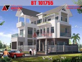 Mẫu thiết kế biệt thự hình chữ L 3 tầng mặt tiền 12m diện tích 100m2 ở Nghệ An BT101755