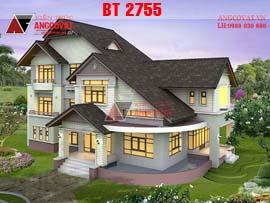 Mẫu thiết kế nhà 3 tầng lệch mặt tiền 16m diện tích 190m2 5 phòng ngủ BT2755