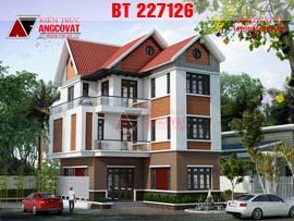Bản vẽ biệt thự mini 3 tầng 2 mặt tiền phong cách hiện đại BT227126