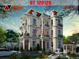 Biệt thự 150m2 3 tầng kiểu pháp hình chữ L đẹp lung linh BT120126