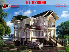 Hình ảnh biệt thự 3 tầng tân cổ điển pháp tone màu trắng ngà lãng mạn BT920096
