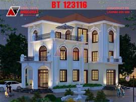 Ngắm mẫu thiết kế nhà 140m2 3 tầng 5 phòng ngủ đẹp lung linh về đêm BT123116