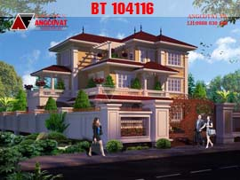 Nhà 3 tầng bán cổ điển 4 phòng ngủ mang phong cách hoàng gia BT104116