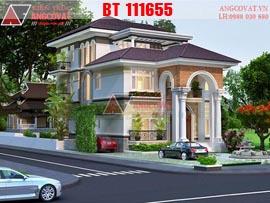 Hình ảnh ngôi nhà 3 tầng đẹp mái thái hiện đại 10x18m 5 phòng ngủ diện tích 180m2 kinh phí 2,5 tỷ BT111655