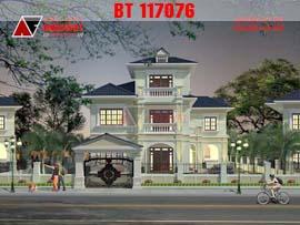 Mẫu thiết kế biệt thự 3 tầng hình vuông 17x17m diện tích 200m2 BT117076