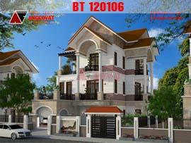 Thiết kế biệt thự 150m2 3 tầng phong cách tân cổ điển BT120106