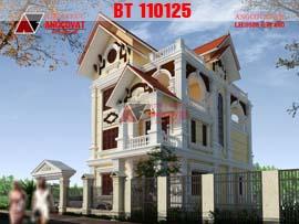 Thiết kế biệt thự cổ điển pháp 4 tầng 140m2 mặt tiền 9m ở Hưng Yên BT110125