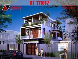 Thiết kế nhà 3 tầng 100m2 2 mặt tiền hiện đại sang trọng BT111017