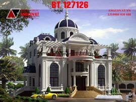 Biệt thự kiểu lâu đài phong cách châu âu trắng tinh khôi BT127126