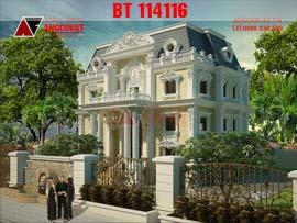 Thiết kế biệt thự pháp cổ kiểu dáng lâu đài BT114116