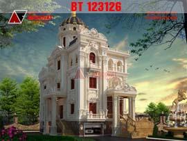 Thiết kế lâu đài dinh thự kiểu pháp đẳng cấp xa hoa trên từng chi tiết BT123126