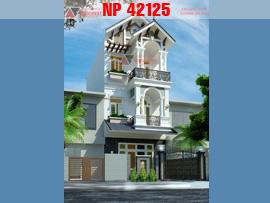 Thiết kế nhà mặt tiền 5.5m 3 tầng phong cách tân cổ điển NP42125