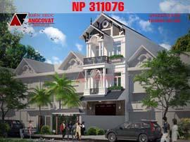 Mẫu thiết kế nhà 3 tầng mặt tiền 5x16m phong cách tân cổ điển đẹp NP311076