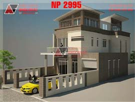 Thiết kế nhà 9x20m 3 tầng 5 phòng ngủ diện tích 180m2 NP2995