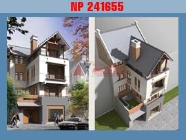 Nhà phố mặt tiền 9m 4 tầng phong cách hiện đại mái dốc NP241655