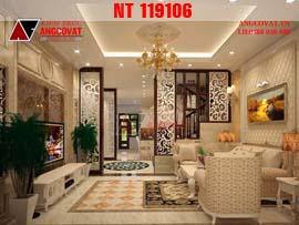 Thiết kế nội thất phòng khách, phòng bếp nhà ống phong cách tân cổ điển NT119106